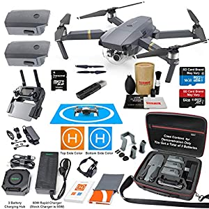 DJI Mavic Pro Drone Quadcopter Elite Combo with 3 Batteries, 4K Professional Camera Gimbal Bundle Kit with 80W Rapid Charger, Charging Hub, Carrying Case and Must Have Accessories 510x 2BWX4D4L