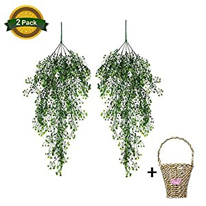 "Julvie 2 Bunches Artificial Bean Petal Flower Vine Hanging Basket 33.5"" Fake Silk Vines Wicker Decor Plastic Green Plants Leaf Ivy Home Garden Wall Wedding Party 16"