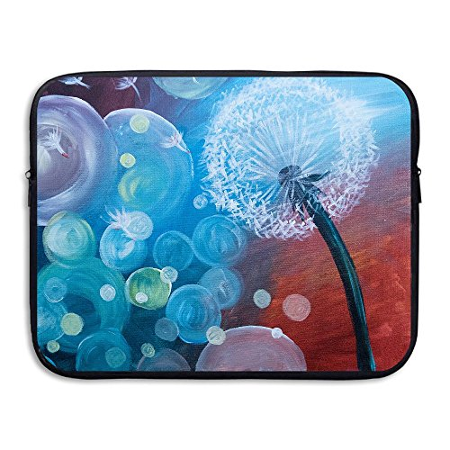 (Fashion Laptop Storage Bag Dandelion Art Love Oil Painting Portable Waterproof Laptop Sleeve Bag Zipper Pocket Cover For Notebook PC)