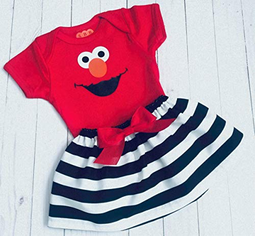 Elmo Birthday outfit red elmo onesie or tshirt black and white striped skirt birthday outfit