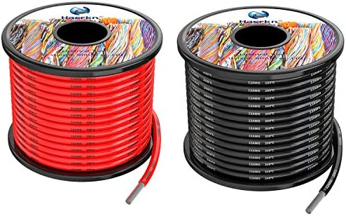 3.3mm² 12awg Silicone Electrical Wire Cable 20Meters [Black 10Meters Red 10Meters] 12 Gauge Separete Wire Hook Up Oxygen Free Stranded Tinned Copper Wire High Temperature Resistance Spool