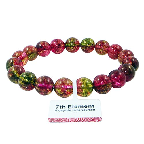 Watermelon Tourmaline Birthstone Round Bead Beaded Balance Bracelet Stretch Handmade Bangle
