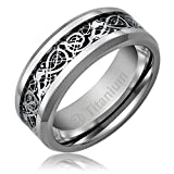 8MM Titanium Promise Engagement Rings for Men | Wedding Bands for Him | Celtic Dragon Design over Black Inlay [Size 8]