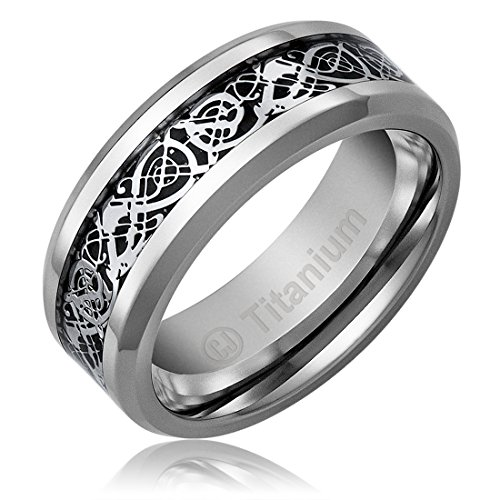 8MM Titanium Promise Engagement Rings For Men | Wedding Bands For Him |  Celtic Dragon Design Over Black Inlay [Size 9.5]
