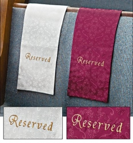 Embroidered Jacquard Reserve Cloth Reserved Seating Placeholder for Church Pew Seats -