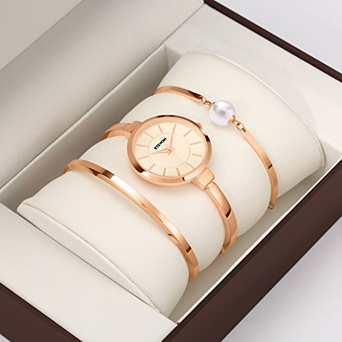 ETEVON Women's Rose Gold-Tone Analog Quartz Water Resistant Bangle Watch and Bracelet Set Jewelry Classic Luxury Fashion Gift for Ladies