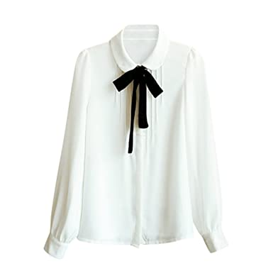 55eb95f599cad Comemall Teen Girls Chiffon Doll Collar Bowknot Blouse Top Shirt Long Sleeve