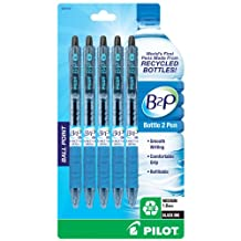 Pilot B2P, Bottle to Pen, Retractable Ball Point Pens Made from Recycled Bottles, 5 Pen Pack, Medium Point, Black -32812