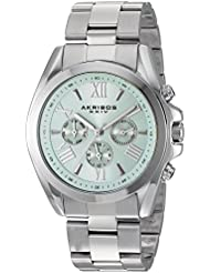 Akribos XXIV Womens Multi-Function Stainless Steel Case on Stainless Steel Bracelet and Light Blue Dial with...
