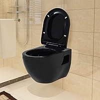 Festnight Toilette Murale WC Suspendu Céramique de Salle de Bain Noir 36 x 50 x 41,5 cm
