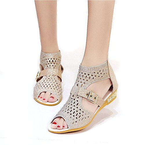 (YING LAN Womens Fashion Platform Wedges Fish Mouth Hollow Out Glitter Crystal Sandals Summer Roman Shoes Champagne Gold)