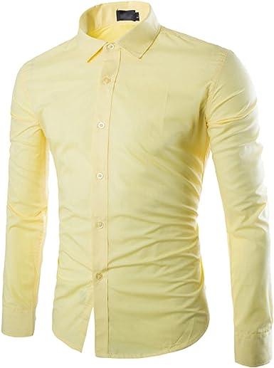 ISSHE Camisas Slim Fit Hombre Camisa Básica Cuello Clásico Camisas de Vestir Formal Caballero Camisas Vestidos Entalladas Casuales para Hombres Camisetas Manga Larga Business Modernas: Amazon.es: Ropa y accesorios