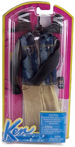 Price comparison product image Barbie Fashion Clothing for Ken - Blue Jean Jacket with Khaki Pants and Biker Boots by Mattel [parallel import goods]
