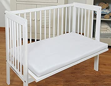 White with Fitted Sheet Baby Bedside Co Sleeper Cot Bed Side by Side with Free Mattress