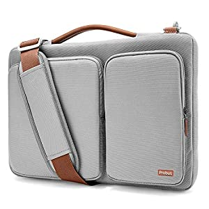 Shopizone Ash Grey Polyester Probus Laptop Shoulder Bag Compatible with 15.6 Inch Dell HP ASUS Acer Lenovo Laptops 360° Protection with Handle and Accessory Bag