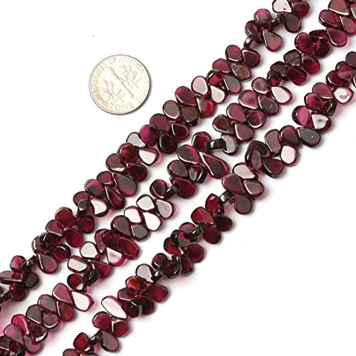 6x8mm Natural Semi Precious Drop Garnet Gemstone Beads for Jewelry Making Strand 15