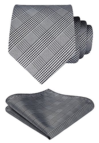 HISDERN Extra Long Plaid Stripe Tie Handkerchief Men's Necktie & Pocket Square Set