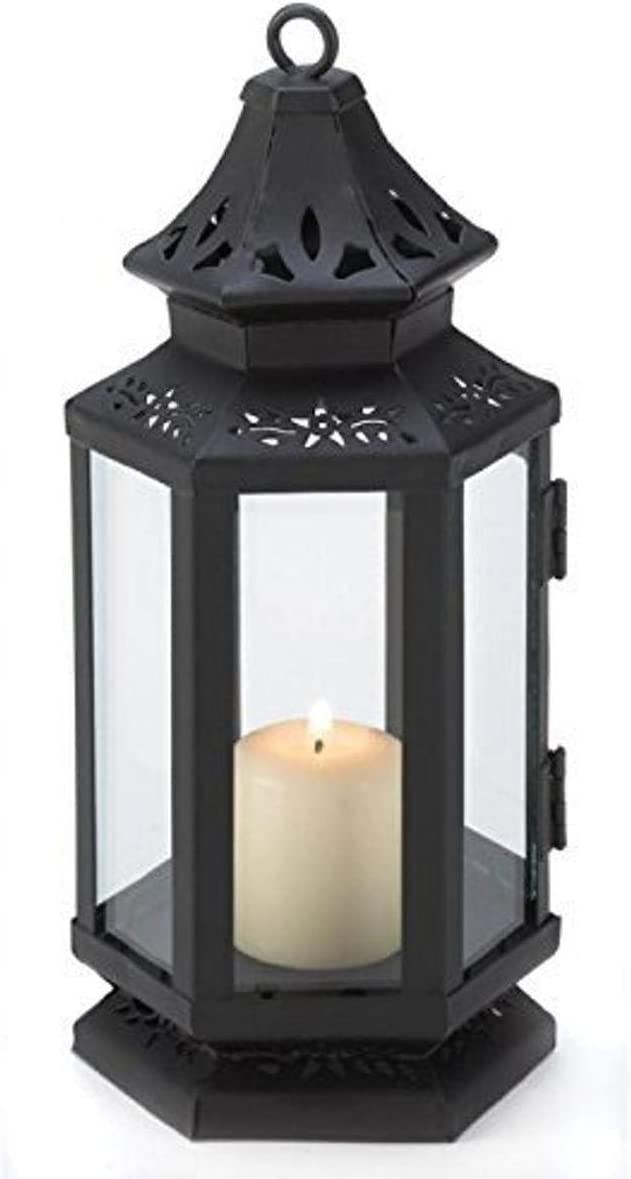 Zings & Thingz 57070785 Floral Cutouts Candle Lantern, Black