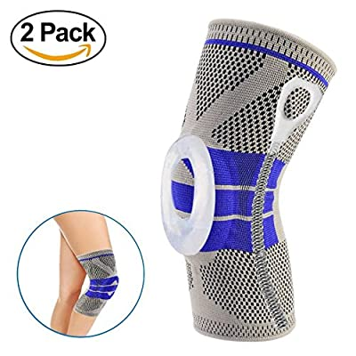 Nylon Silicon Knee Sleeve, Knee Brace Compression Sleeves, Elastic & Adjustable Knee Pad Silicone Padded Bracket/Patella Stabilizer for Meniscus Tear Arthritis Pain Relief