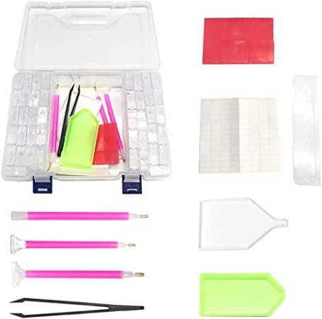 MACTING Diamond Embroidery Storage Box Kit for DIY Art Craft /… New Design Diamond Painting Pen Cross Stitch Tool Set 42 Pieces