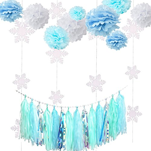 Fonder Mols Frozen Party Decorations Kit Blue White Tissue Pom Flowers Snowflake Garland Ice Tassel Garland for Baby Shower Birthday Party Backdrop Table Centerpieces Wall Decor 23pcs -