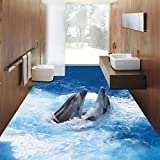 LHDLily 3D Sea Dolphin Flooring Painting Wallpaper Bathroom Office Supermarket Self-Adhesive Custom Floor Mural 400cmX300cm