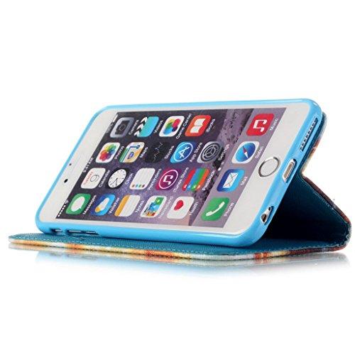 Ougger(TM) iphone 6 6s Etui Coque, [Dragonne] Colorful Strip Flip Cuir Poche Housse Portefeuille avec ID Card Slot Protecteur Fonction Debout Cover Case Pour Apple iphone 6 6s 4.7 inch