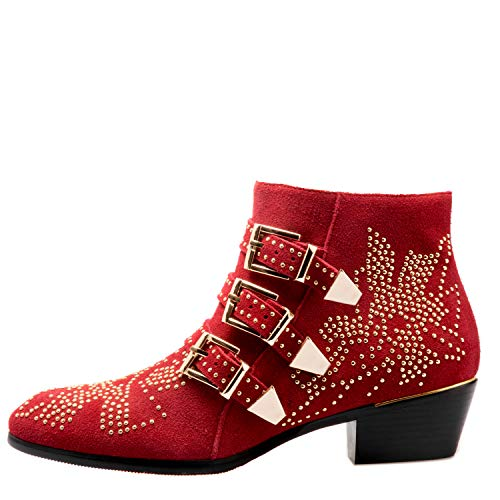 Boots for Women,Women's Leather Boot Rivets Studded Shoes Metal Buckle Low Heels Ankle Studded Booties Suede Wine Red Gold 10 Size