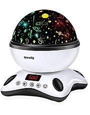 Moredig Sterrenhemel projector, muziek nachtlampje lamp 12 lichte muziek + 8 verschillende lichten voor kinderen, verjaardagen, Halloween enz., zwart en wit