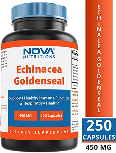 Nova Nutritions Echinacea Goldenseal Complex 450 mg (Non-GMO) - Supports Immune and Respiratory Response* Supports Mucous Membranes, 250 Capsules