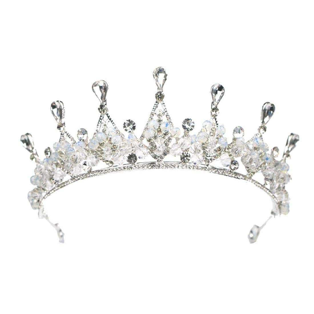 ZYDP Rhinestone Wedding Crowns and Tiaras for Women, Costume Party Hair Accessories (Color : Silver) by ZYDP