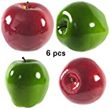 Mezly 6pcs Decorative Large Artificial Red, Green, and Mix Apple Plastic Fruits Home Party Decor (MIX)