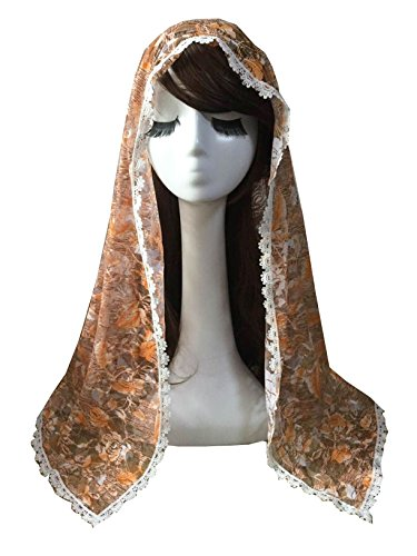 Chapel Catholic Veil lace mantilla for church headwrap V33 (Orange)