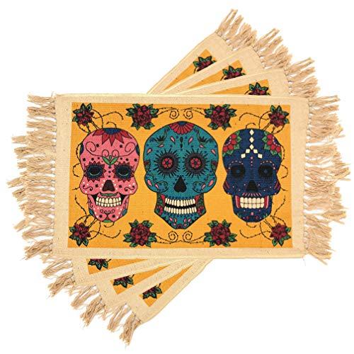 El Paso Saddleblanket Dia de Los Muertos Placemats Set of 4 (Sugar Skull 2)
