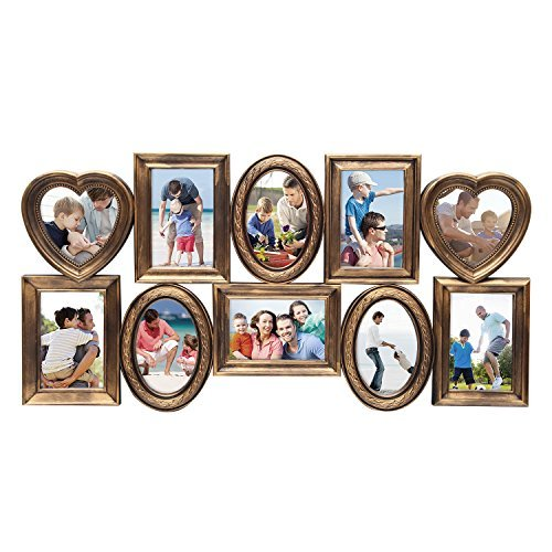 Adeco 10 Openings Decroative Antique Gold Collage Picture Photo Frame in Ovals Rectangle, and Heart Shape - Made to Display Two 4.75x4.75, Eight 4x6 Photos