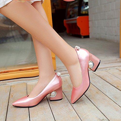 Aisun Damen Elegant Strass Kunstlich Perlen Spitz Ohne Verschluss Pumps Pink
