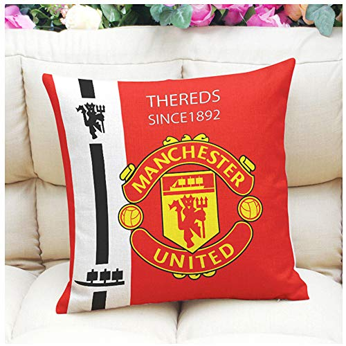 Sportfy Football Soccer Club Badge Manchester United Thick Cotton Blend Linen Square Throw Pillow Cases Car/Couch Decorative Cushion Case Pillow Covers 18