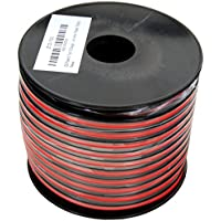 GS Powers True 12 Gauge (American Wire Ga) 100 feet 99.9% OFC stranded oxygen free copper, Red/Black 2 Conductor Bonded Zip Cord Power/Speaker Cable for Car Audio Amplifier, Home Theater, Robotic