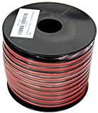 GS Power's True 12 Gauge (American Wire Ga) 100 feet 99.9% OFC stranded oxygen free copper, Red/Black 2 Conductor Bonded Zip Cord Power/Speaker Cable for Car Audio Amplifier, Home Theater, Robotic