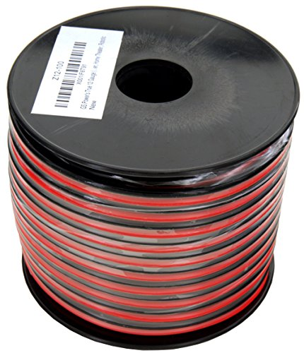 GS Power's True 12 Gauge (American Wire Ga) 100 feet 99.9% OFC stranded oxygen free copper, Red/Black 2 Conductor Bonded Zip Cord Power/Speaker Cable for Car Audio Amplifier, Home Theater, Robotic ()