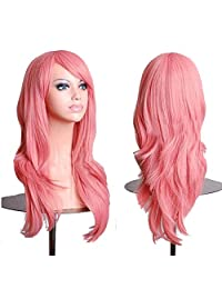 "RoyalStyle 28""70cm Long Wavy Universal Cosplay Wigs Party Hair for Woman (Pink)"