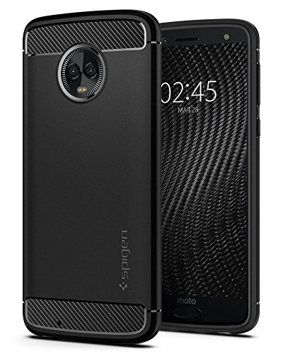 Spigen Rugged Armor Moto G6 Case with Flexible and Durable Shock Absorption with Carbon Fiber Design for Motorola Moto G6 (2018) – Black
