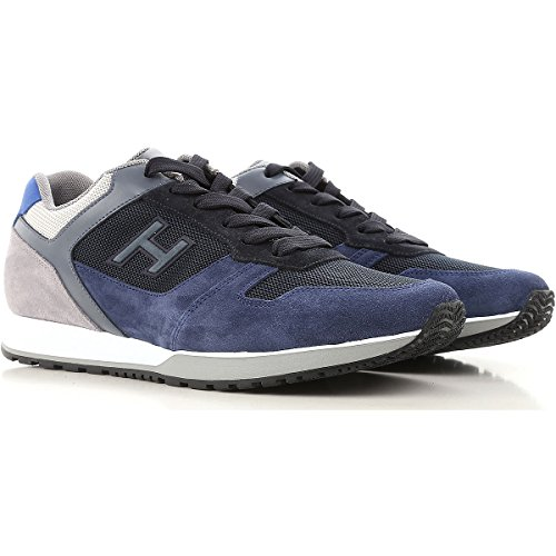 Hogan Sneakers Uomo H321 Mod. HXM3210Y861I7J785K In Camoscio e Tessuto Blu e Grigio