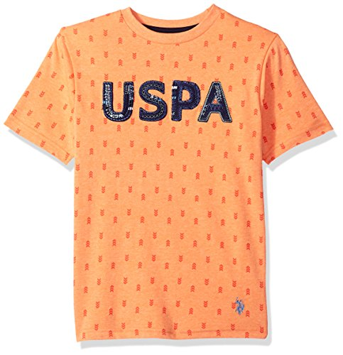 (U.S. Polo Assn. Boys' Big Short Sleeve Fancy Crew Neck T-Shirt, All Over All Over Print Graphic Sunrise Heather, 14/16)