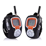 Freetalker RD-008B Portable Digital Walkie Talkie Two-Way Radio Watch for Outdoor Sport Hiking, 462MHZ, black, 2pcs