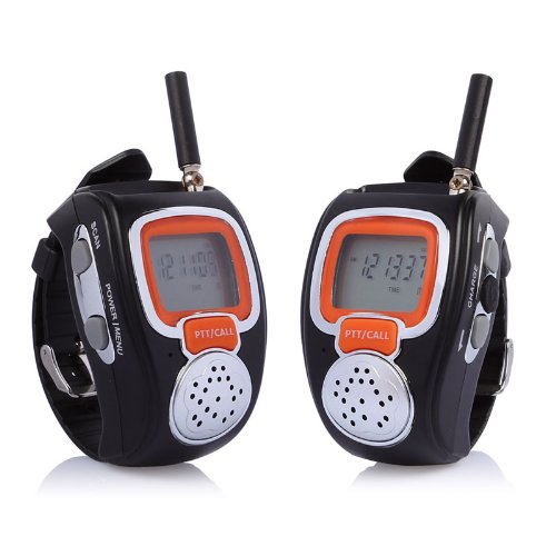 Freetalker RD-008B Portable Digital Walkie Talkie Two-Way Radio Watch for Outdoor Sport Hiking, 462MHZ, black, (2 Way Speakerphone)