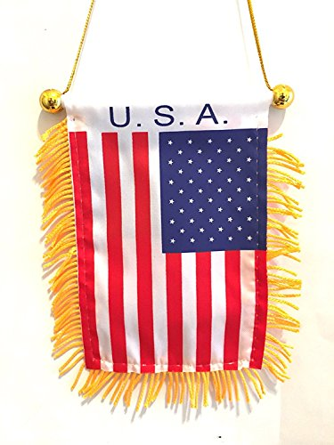 Auto Car Suv Pickups Trucks Motorcycle Boats Auto or Home USA flag American Pride Red white and Blue mini rearview mirror flag
