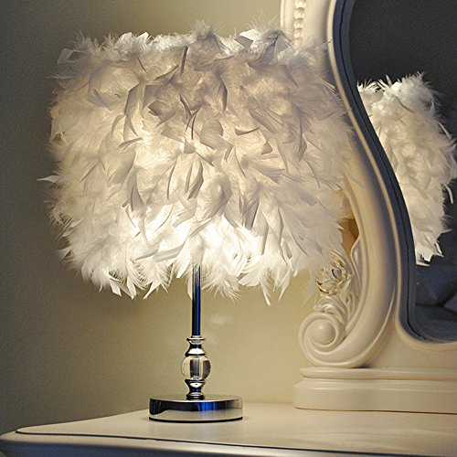Injuicy Modern Feather Lampshade E27 Led Crystal Metal Table Lights American Wedding Birthday Desk Lamps Study Living Rooms Bedrooms Bedside Hotel Gift (White & Dia.11 Inch)