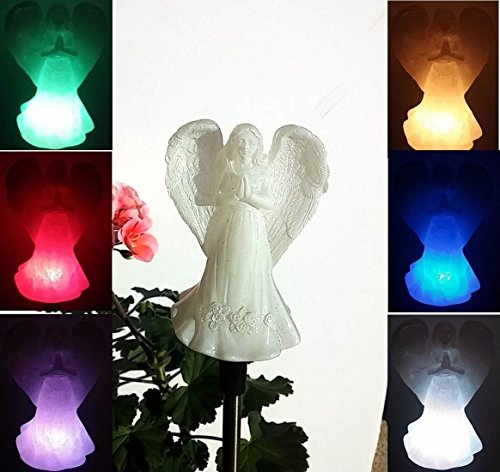 Beautiful Solar Angel Light , Ivory Cream Praying Angel , Multi-color Color Changing Garden Stake Outdoor Yard Landscaping Decor LED Lamp Lights , or Indoor Home Decoration , Great Gift