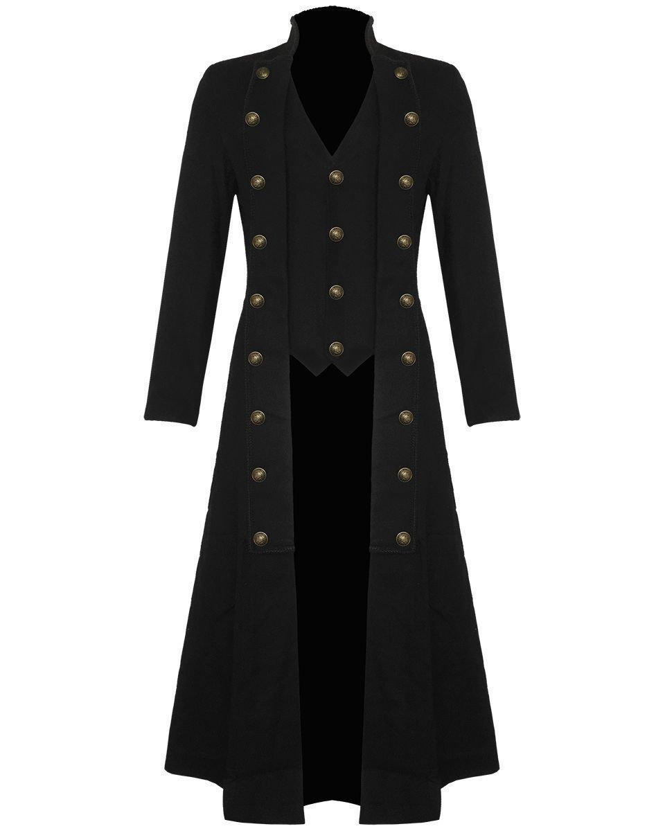 Darkrock Men's Cotton Twill Steampunk Jacket Goth Victorian/Military Style Trench Coat/USA Design/USA Sizes/Black,Red & Blue 3